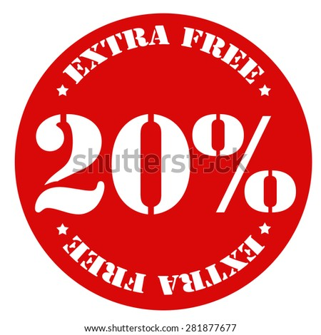 Red stamp with text 20% Extra Free,vector illustration - stock vector