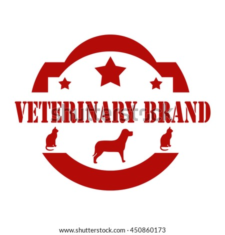 Red stamp with text Veterinary Brand,vector illustration - stock vector