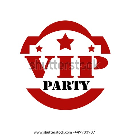 Red stamp with text VIP Party,vector illustration - stock vector