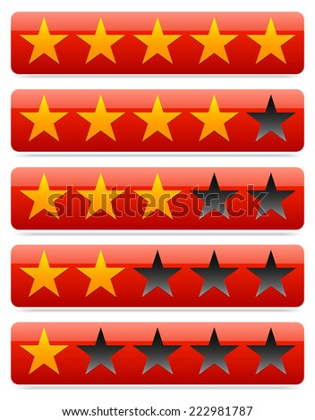 Red star rating template. Stars in red bars. - stock vector