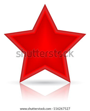 Red star vector illustration. Icon on white background - stock vector