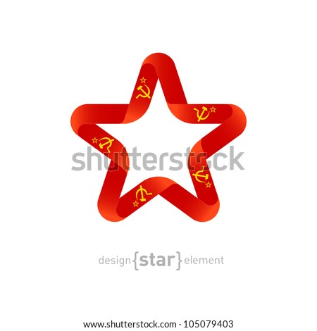 Red Star with USSR flag colors and socialist symbols. Vector communist design elements.  - stock vector
