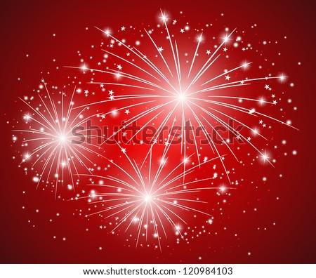 Red starry firework - vector illustration - stock vector