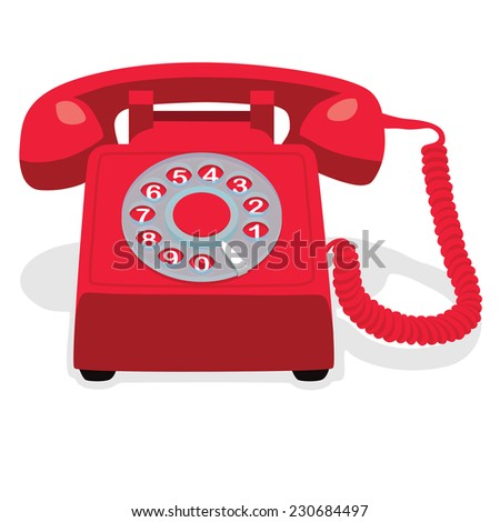 Red stationary phone with rotary dial. Vector illustration. - stock vector