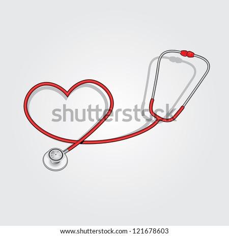 red stethoscope - stock vector