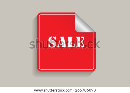 Red sticker with sale text.Vector illustration. - stock vector