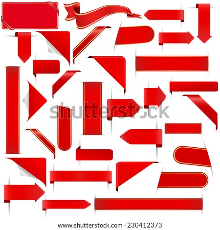 red stickers set - stock vector
