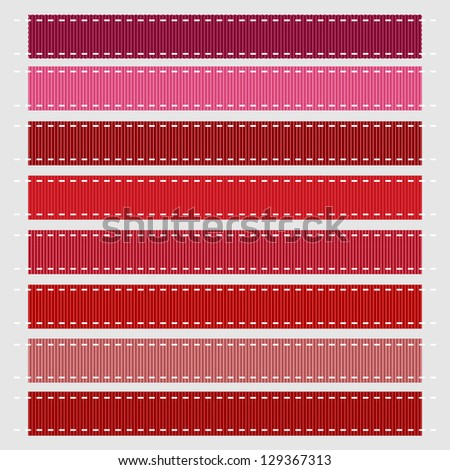 Red Stitched Grosgrain Ribbon, Vector. Also see other color sets. - stock vector