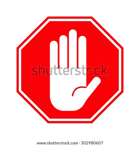 Red stop hand sign - stock vector