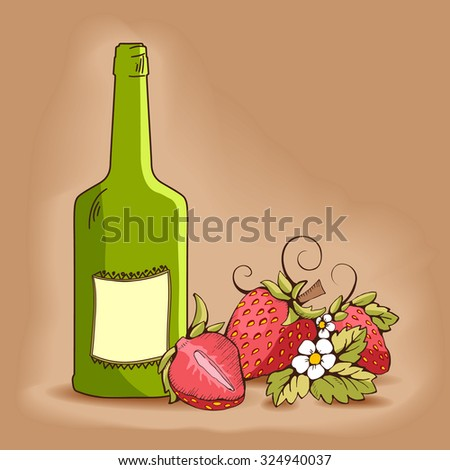 Red strawberry with yellow kernels, leaves, stalk, flowers and tendrils.  A strawberry cut in half. Green bottle with halftones There are label. Beige/brawn background. Vector outline image. - stock vector