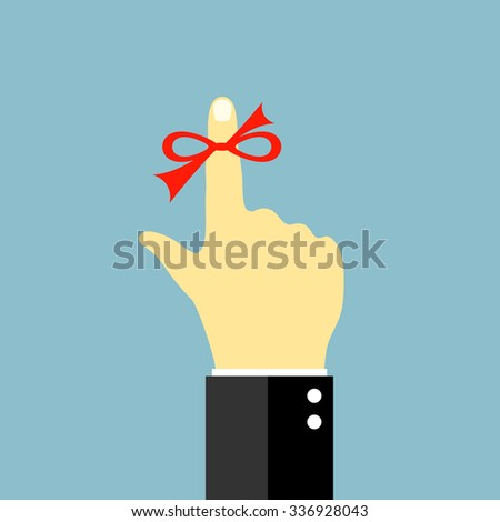 Red string around finger, remind vector symbol - stock vector