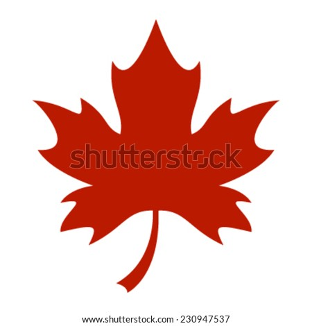 Red Stylized Autumn Maple Leaf vector logo - stock vector