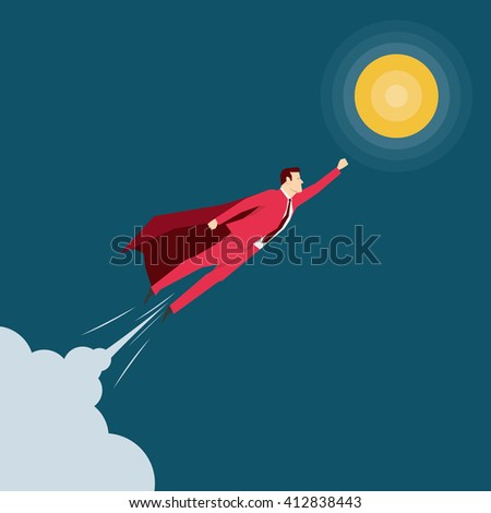 Red suit businessman. Super hero. Vector concept illustration. - stock vector