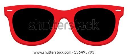 Red Sunglass - stock vector