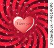 Red swirly valentine - stock vector