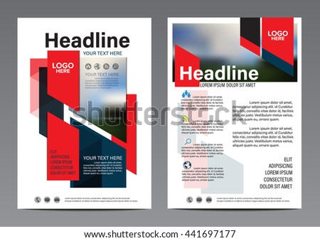 Red Tab Brochure Annual Report Flyer design template. Leaflet cover Presentation Modern flat background. illustration vector in A4 size - stock vector