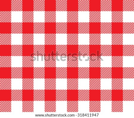 Red tablecloth background seamless pattern. Vector illustration of traditional gingham dining cloth with fabric texture. Checkered picnic cooking tablecloth. - stock vector