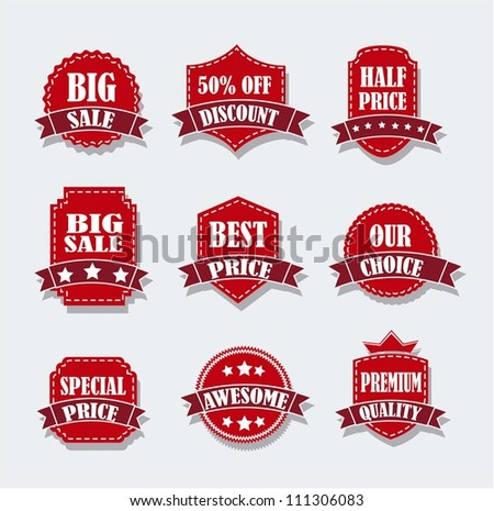 red tags over gray background. vector illustration - stock vector