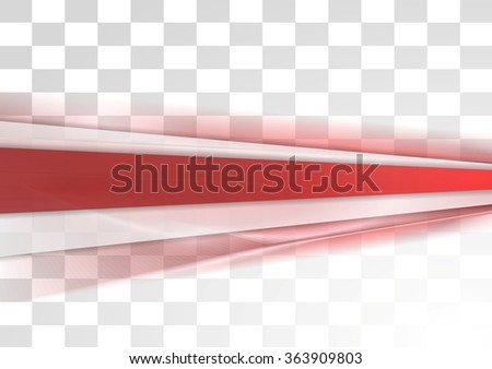 Red tech stripes blurred transparent design. Vector background - stock vector