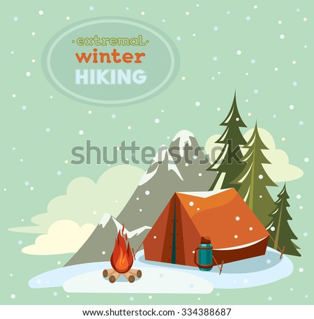 Red tent with thermos and fire on a snowy sky background - Extremal winter hiking, Vector adventure landscape. - stock vector