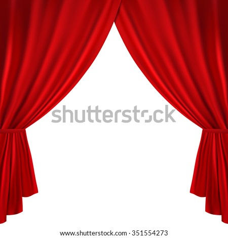 Red theater curtain on a white background - stock vector
