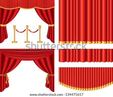 red theater curtains photo-realistic vector set - stock vector