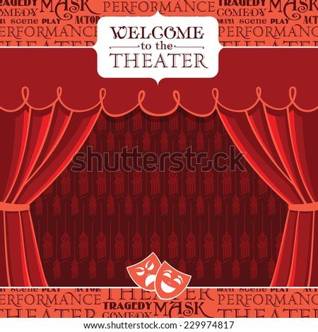 Red theater curtains with decorative elements. Vector illustration - stock vector