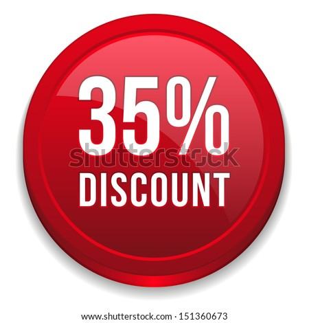 Red thirty-five percent discount button - stock vector