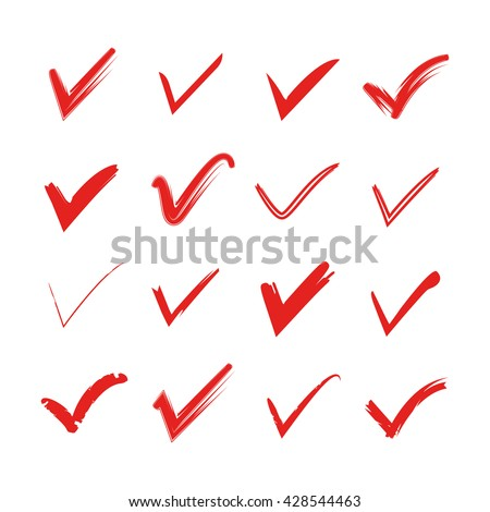 red tick mark icons, check mark icons - stock vector