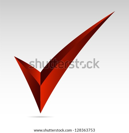 Red tick sign. Yes, mark, vote  Vector illustration - stock vector