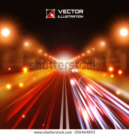 Red tint night road with glowing lights, bokeh and speed lines - stock vector