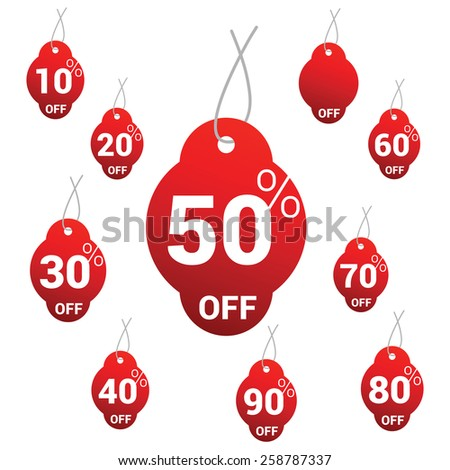 Red 10 to 90% OFF Vector Sale Tags / labels | Vector Hanging Sale Tags - stock vector