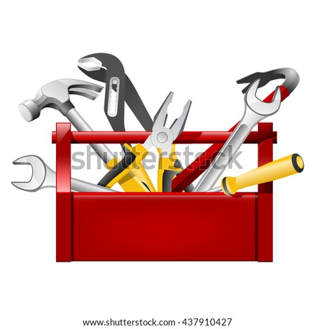 Red toolbox toolbox - repairman equipment - stock vector