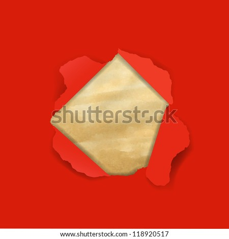 Red Torn With Old Paper With Gradient Mesh, Vector Illustration - stock vector
