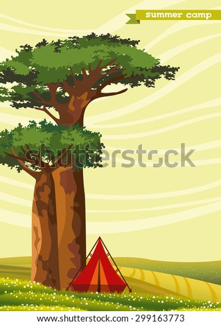 Red tourist tent and two baobabs on a green meadow. Summer camp. Natural vector landscape. - stock vector