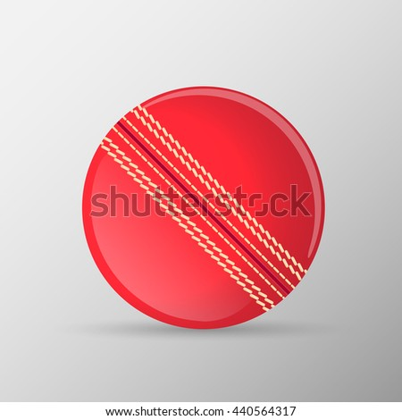 Red traditional cricket ball. Vector illustration. - stock vector