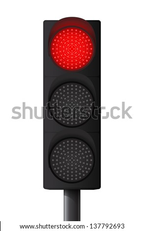 Red traffic light - stock vector