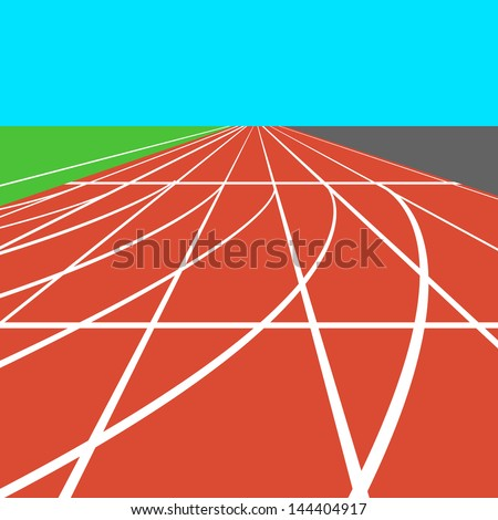 Red treadmill at the stadium with white lines.  vector illustration. - stock vector