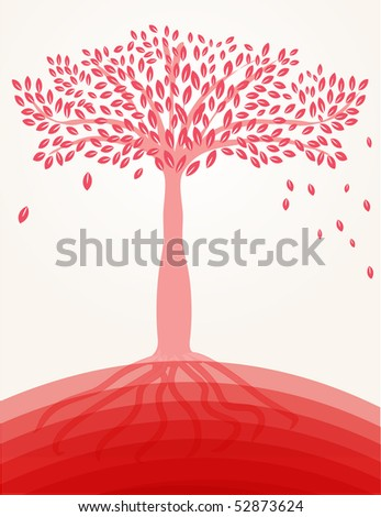 Red tree on the hill - stock vector