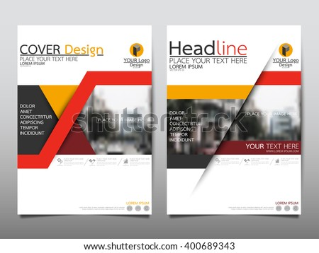Red triangle annual report brochure flyer design template vector, Leaflet cover presentation abstract flat background, layout in A4 size - stock vector