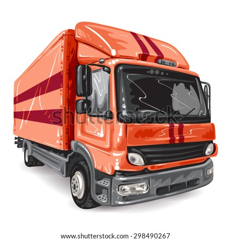 Red Truck on white background - stock vector