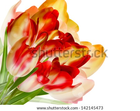 Red tulips and bokeh background. And also includes EPS 10 vector - stock vector