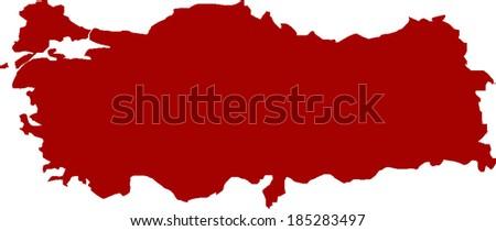 Red Turkey Vector Map - stock vector