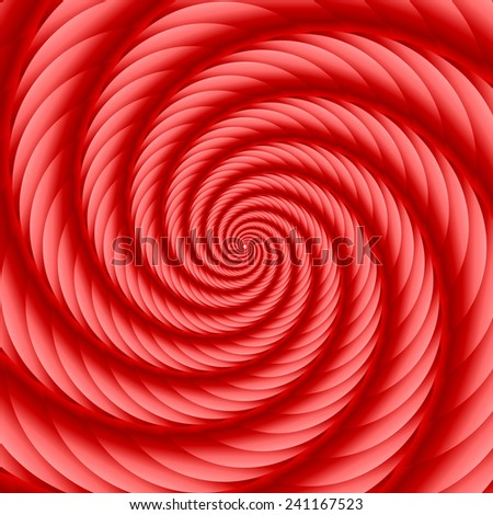 Red twisted and ribbed spiral object with background - stock vector