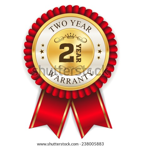 Red two year warranty badge with gold border on white background - stock vector