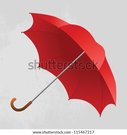 Red umbrella - stock vector