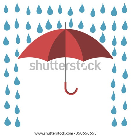 Red umbrella protecting against rain, isolated on white background, flat style. EPS 8 vector illustration, no transparency - stock vector