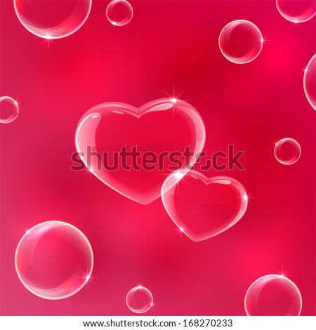 Red Valentines background with soap bubbles in the form of Hearts, illustration.  - stock vector