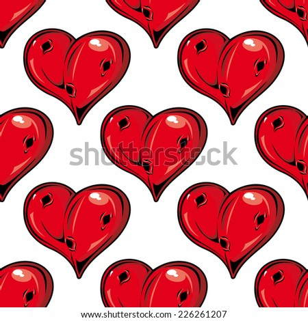 Red Valentines hearts seamless pattern with holes symbolic of love with a dimensional shine in a repeat motif in square format suitable for wallpaper, wrapping paper and fabric design - stock vector