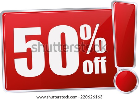 red vector 50% discount price sign - stock vector